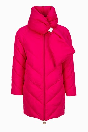 Quilted coat with high collar