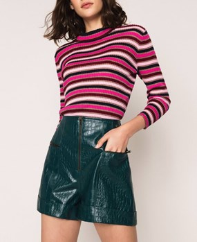 Crocodile print faux leather shorts