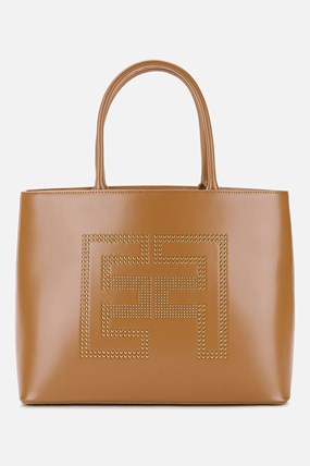 Faux leather shopper bag with studded logo