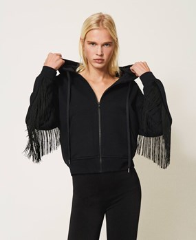 Twinset Ζακέτα - Sweatshirt with zip and fringes